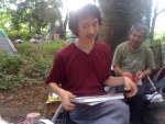 "Art-class of ENOARU cafe in ""tent city"" of Yoyogi Park"