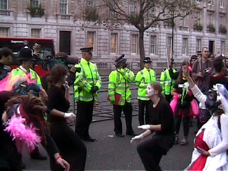 dancing in the street at whitehall