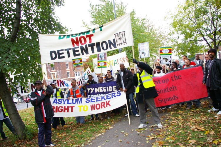 "The start of the ""Dignity Not Detention"" march on Lindholme (Pismmoor)"