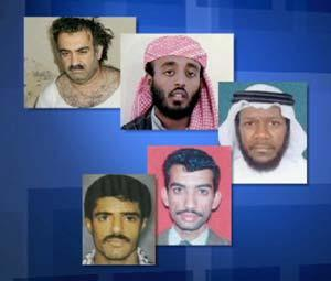 The five alleged co-conspirators in the 9/11 attacks.
