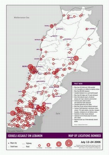 Map Of Locations Bombed By Israel During Its War On Lebanon 24 26 July
