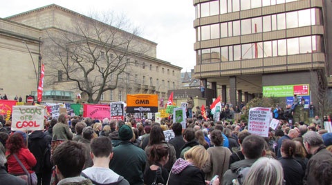 A section of the demonstration outside Sheffield City Hall