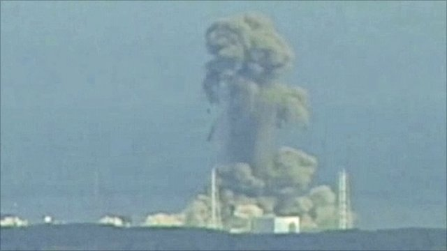 A hydrogen explosion destroys the reactor building of the Fukushima #3 reactor,