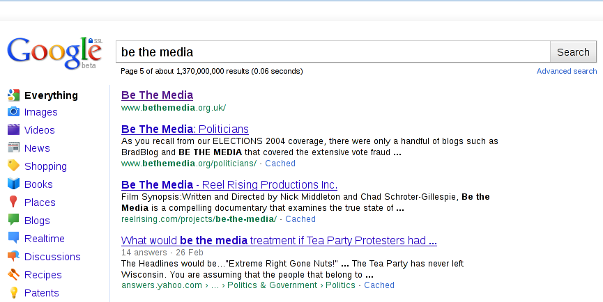 'Be The Media' Google Search Results - Page 5