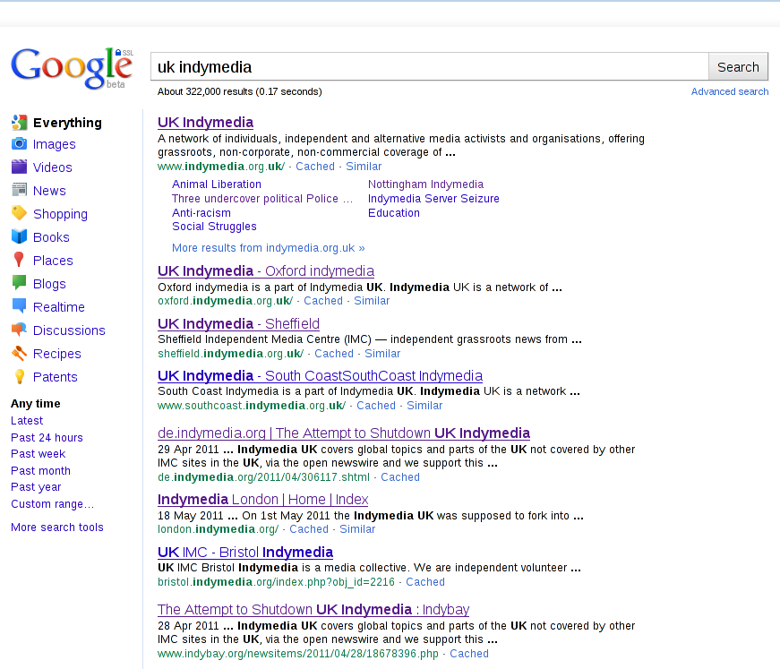 'UK Indymedia' Google Search Results - Page 1