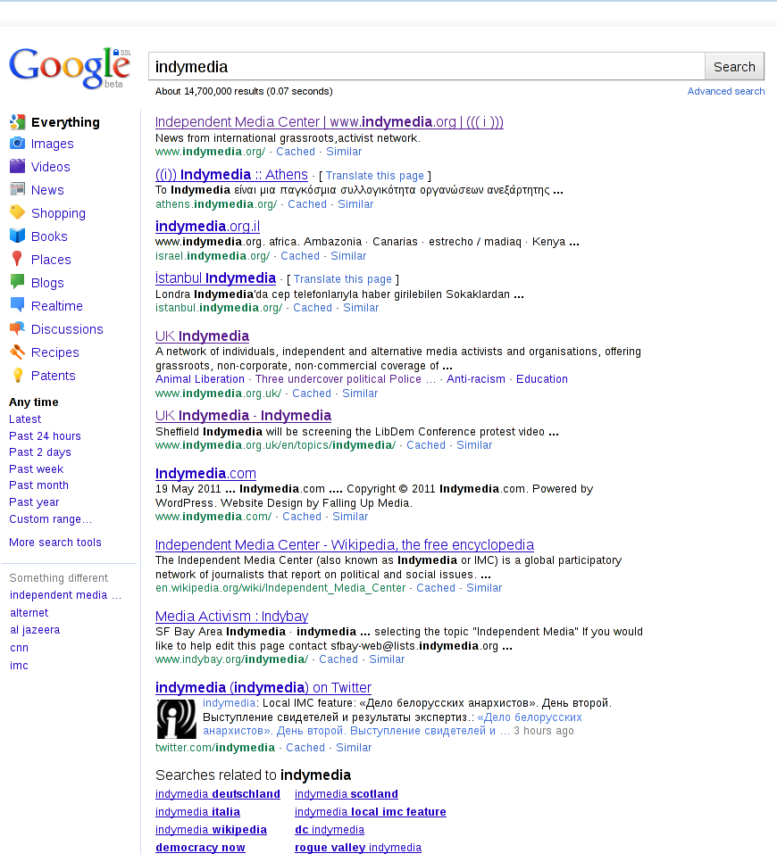 Google Search Results for 'Indymedia' - Page 1