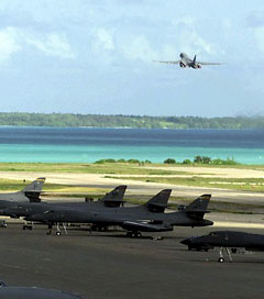 B-1B Lancer Bombers on a runway at Diego Garcia, November, 2001, bombing Iraq