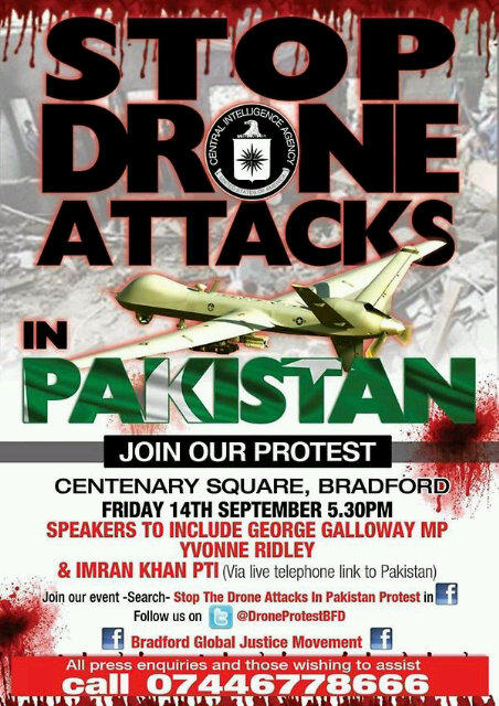Protest against drone attacks in Pakistan on 14th Sept in Bradford