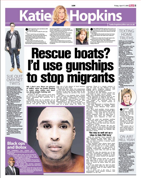 Hopkins Wants Refugees To Be Murdered