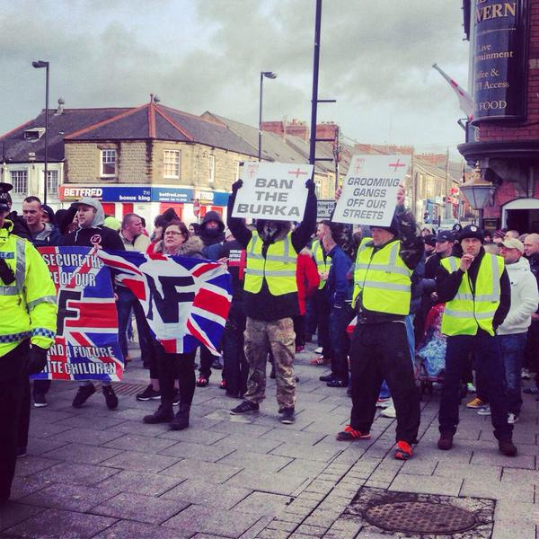 NE EDL standing with the National Front